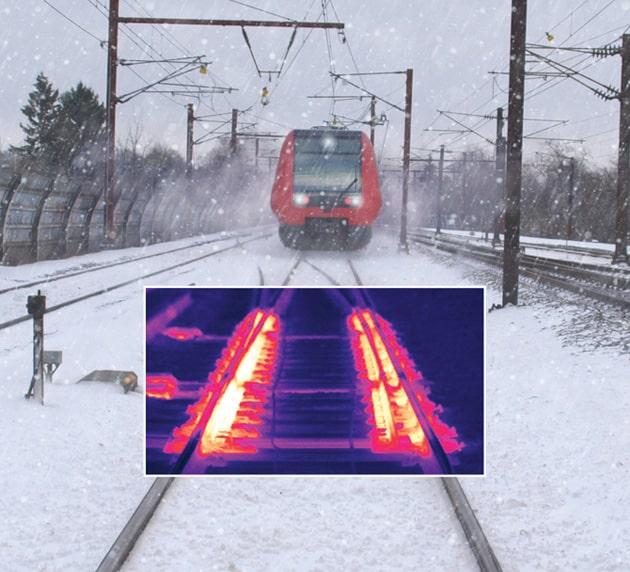 Raudtee rööbaste relsside pöörangute küte ja soojendus